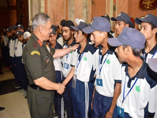 General Bipin Rawat, Chief of the Army Staff, interacting with the students from Jammu - Kashmir at South Block, New Delhi, on Sunday.