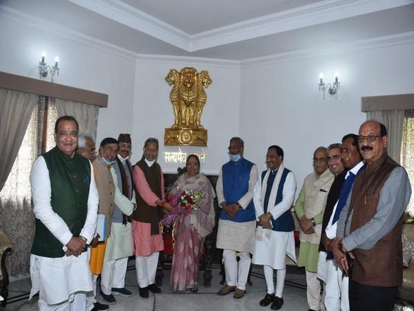 BJP leader Tirath Singh Rawat met Governor Baby Rani Maurya in Dehradun.