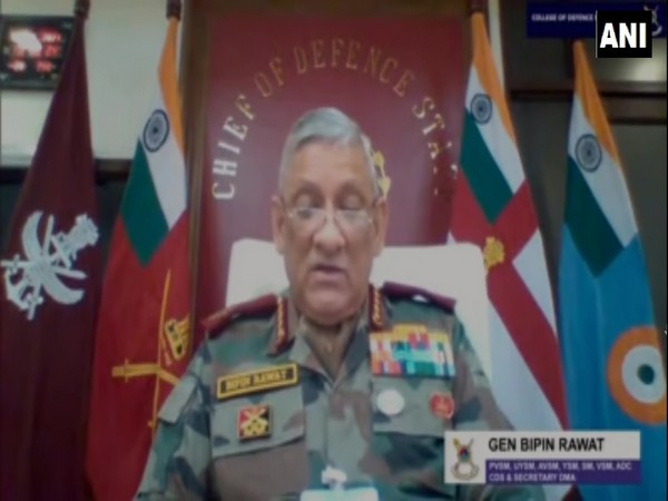 Chief of Defence Staff Gen Bipin Rawat delivering keynote address during a webinar on Thursday. (Photo/ANI)