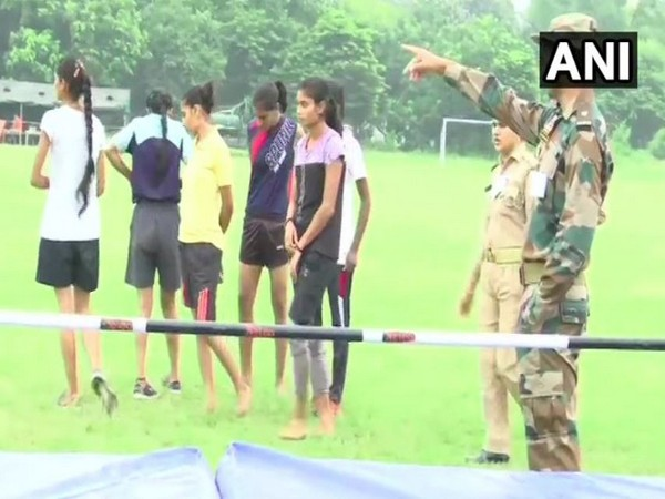 Women candidates at the high jump event during the trials on Thursday in Lucknow. Photo/ANI