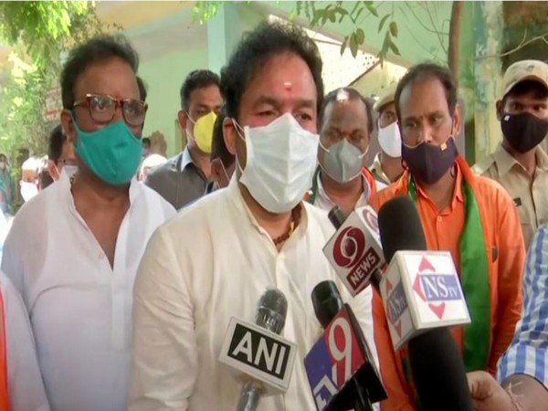Union Minister G Kishan Reddy speaking to reporters in Hyderabad on Friday.