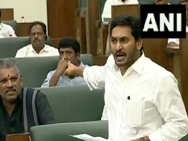 Andhra Pradesh Chief Minister Jaganmohan Reddy speaking in the state legislative assembly in Amaravati on July 12. Photo/ANI