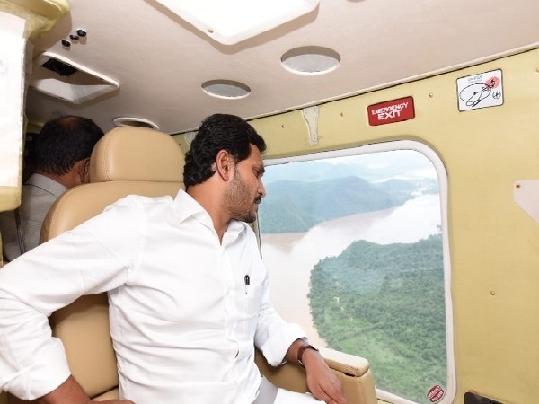 Andhra Pradesh Chief Minister YS Jaganmohan Reddy during aerial survey of the flood-hit state.