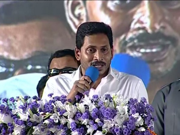 AP Chief Minister YS Jagan Mohan Reddy addresses a public gathering in Ongola on Thursday [Photo/ANI]