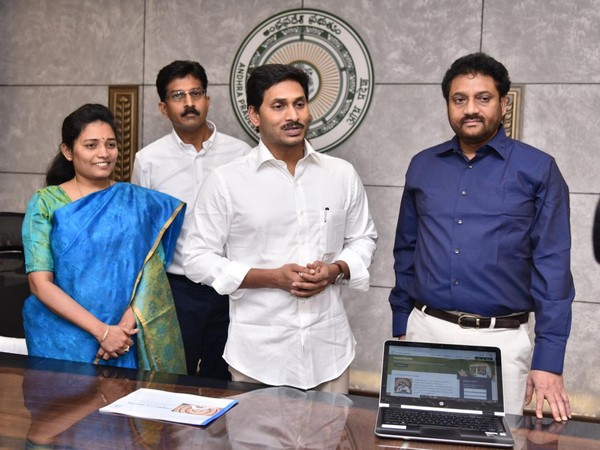 Andhra Pradesh Chief Minister YS Jagan Mohan Reddy launches 'connect to Andhra' web portal on Friday. (Photo/ANI)