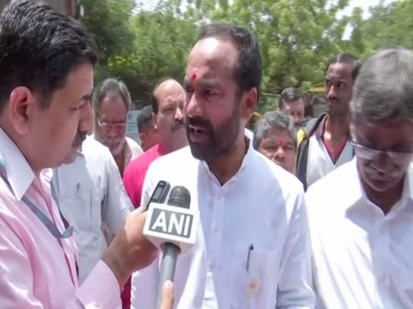 Minister of State for Home Affairs G Kishan Reddy talking to ANI on Saturday in Hyderabad. Photo/ANI
