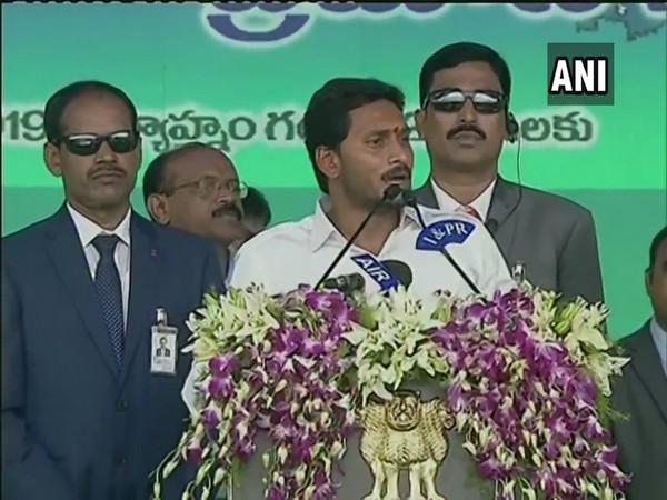 Chief Minister YS Jagan Mohan Reddy addressing the people in Vijayawada, Andhra Pradesh on Thursday.