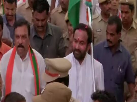 Union Minister of State for Home Affairs G Kishan Reddy during 'padyatra' in Hyderabad in Telangana. Photo/ANI