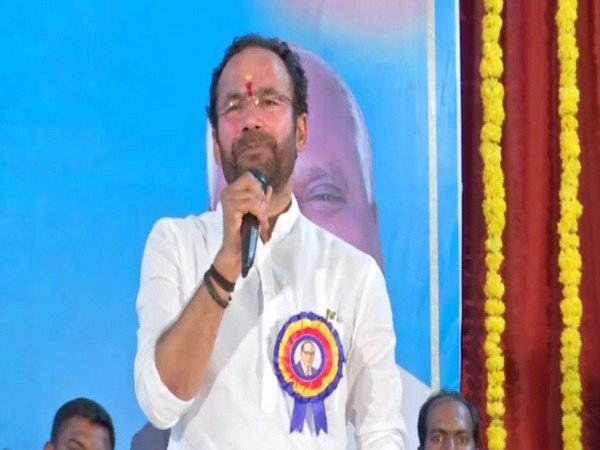MoS for Home Affairs, G Kishan Reddy speaking during the event in Hyderabad, Telangana on Sunday. Photo/ANI