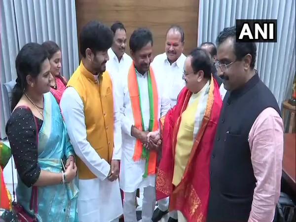 BJP Working President JP Nadda and BJP General Secretary Ram Madhav welcoming former MLA Byreddy Rajasekhar Reddy into their party-fold. (Photo/ANI)
