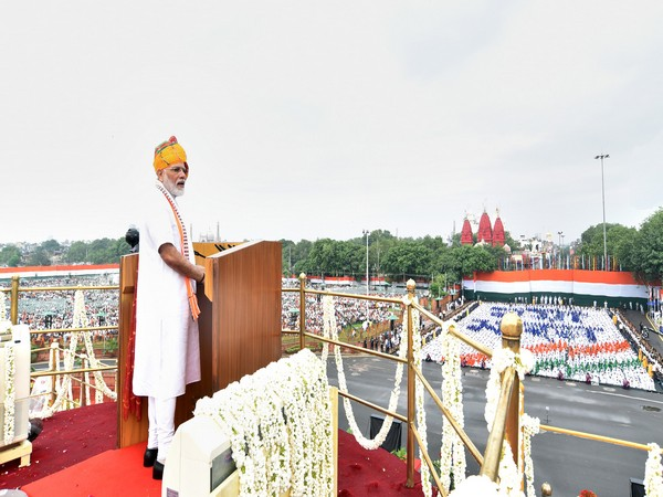 Prime Minister Narendra Modi addressing the nation from the ramparts of Red Fort in New Delhi on the occasion of 73rd Independence Day in 2019