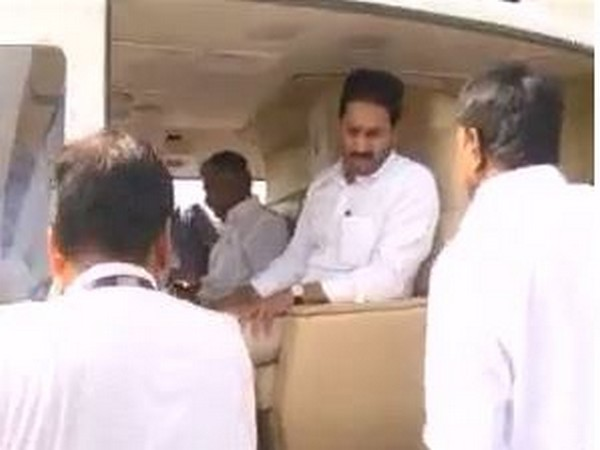 Chief Minister YS Jaganmohan Reddy leaving in a helicopter from his residence on Wednesday. Photo/ANI
