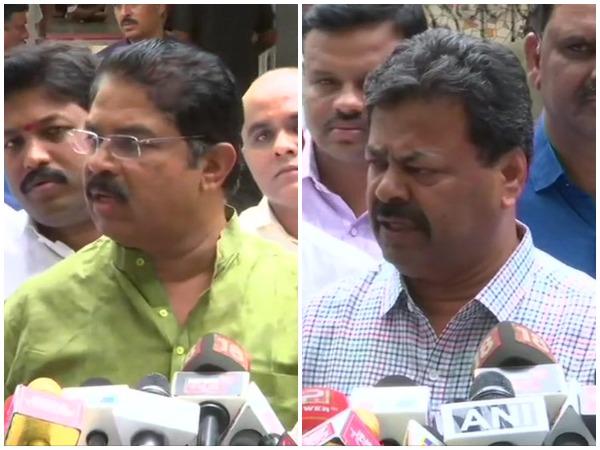 BJP leaders R Ashok and Renukacharya speaking to media