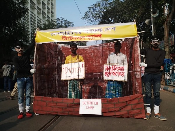The replica of detention camp made by students during protest against CAA, NRC in Kolkata, West Bengal on Monday. Photo/ANI