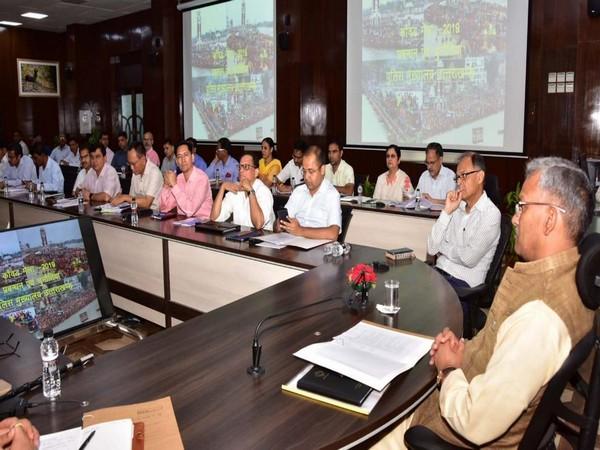 Uttarakhand CM Trivendra Singh Rawat at the high-level meeting on Friday. Photo/ANI