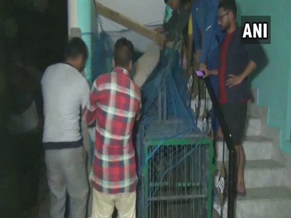Forest Department officials with the leopard cub on Monday night in Pithoragarh in Uttarakhand. Photo/ANI
