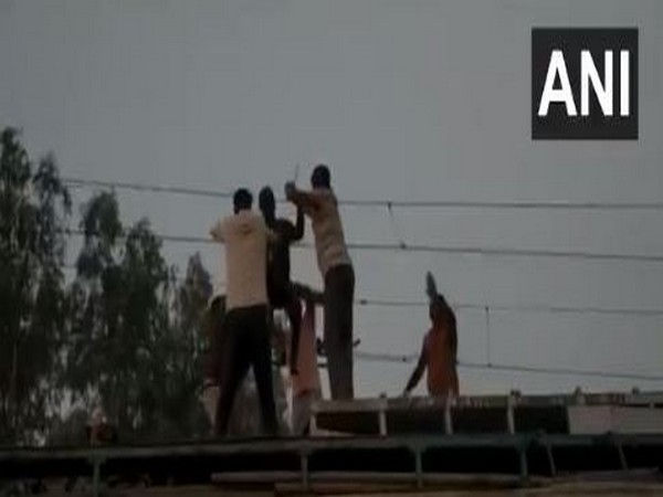 GRP rescued a person at Dabra Railway Station in MP on Tuesday