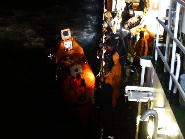 The Indian Coast Guard rescuing 13 crew members of a ship off New Mangalore Port on Monday.