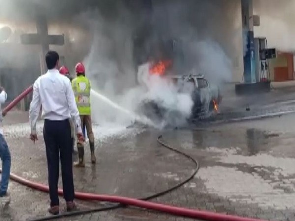 Hyderabad's petrol pump where fire broke out on Tuesday. Photo/ANI