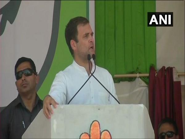 Rahul Gandhi addresing election rally at Chaibasa on Tuesday