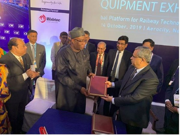 The MoU was signed in the presence of Ghana's Minister of Railway Development Joe Ghartey and Chairman and Managing Director of Rail India Technical and Economic Service (RITES) Rajeev Mehrotra.