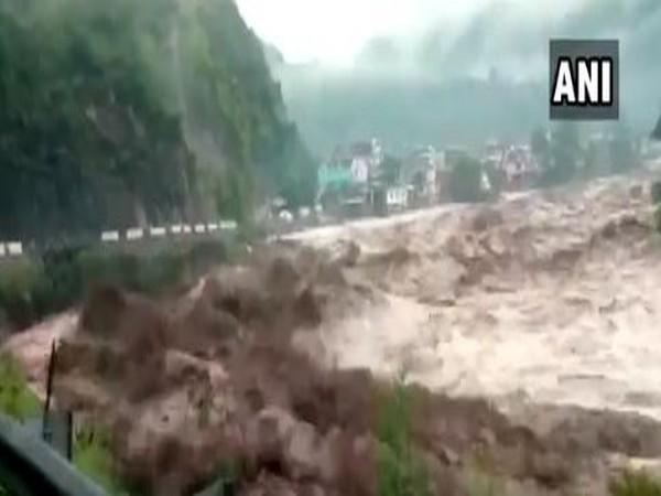 Tons river in Uttarkashi's Mori tehsil overflows following cloudburst in the area. (Photo/ANI)