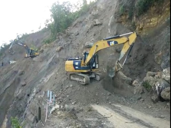 The Highway was earlier closed after it was blocked by the debris and boulders, due to landslide. (Photo: ANI)