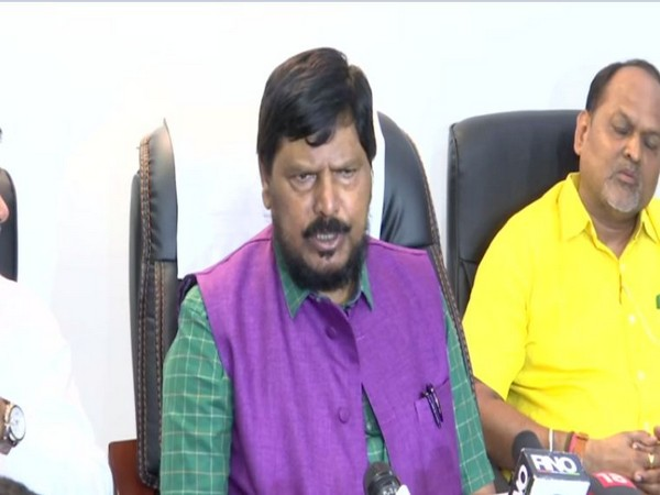 RPI chief Ramdas Athawale speaking to reporters in Mumbai on Thursday. Photo/ANI