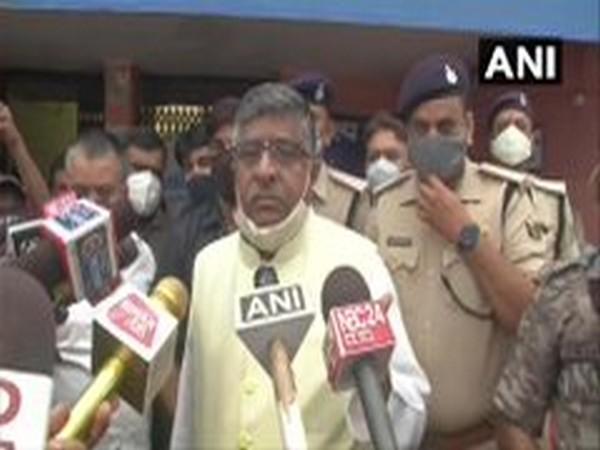 Union Minister Ravi Shankar Prasad speaking to reporters in Patna on Monday. Photo/ANI