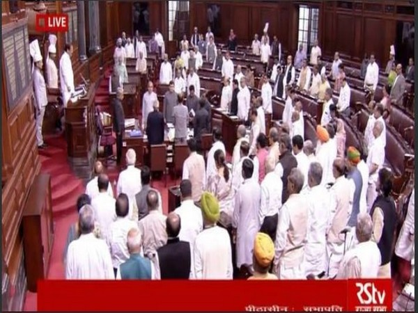 Rajya Sabha Chairman M Venkaiah Naidu and members pay tribute to late Sushma Swaraj. Photo/RSTV