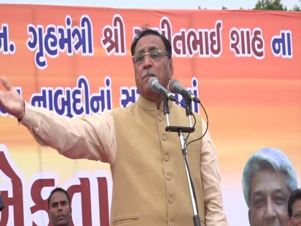 Chief Minister Vijay Rupani speaking at an event on Sunday in Vadodara. Photo/ANI