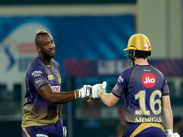 KKR all-rounder Andre Russell and skipper Eoin Morgan (Image: BCCI/IPL)