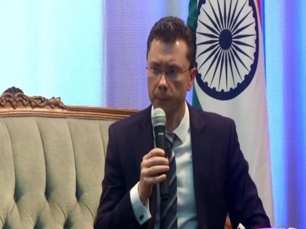Russia's deputy Ambassador to India, Roman Babushkin, speaking to media in New Delhi on Monday