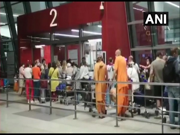 Russian citizens at the IGI airport in Delhi