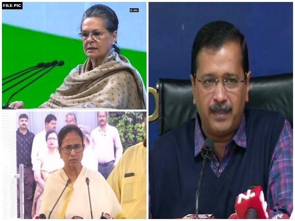 Congress interim president Sonia Gandhi, West Bengal Chief Minister Mamata Banerjee and Delhi Chief Minister Arvind Kejriwal