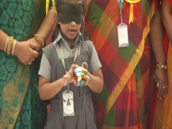 6-year-old mastermind Sarah solved Rubik's cube puzzle blindfoldedly in Chennai on Friday [Photo/ANI]