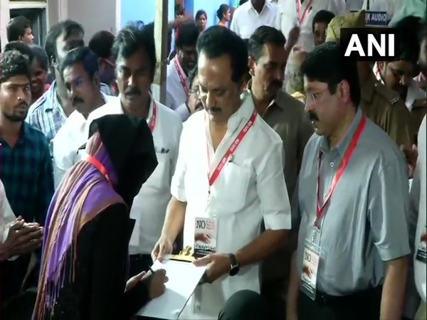 DMK President MK Stalin on Saturday held a signature campaign in Otteri, against CAA, NRC and NPR in Chennai. Photo/ANI