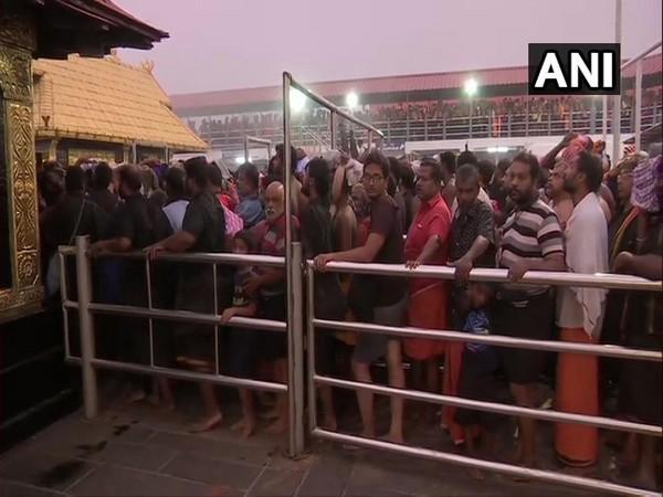 Devotees at Sabarimala temple on Monday.