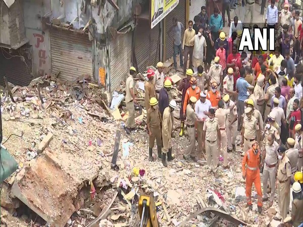 Visual of the collapsed building sit at Delhi's Sabzi Mandi (File Photo/ANI)