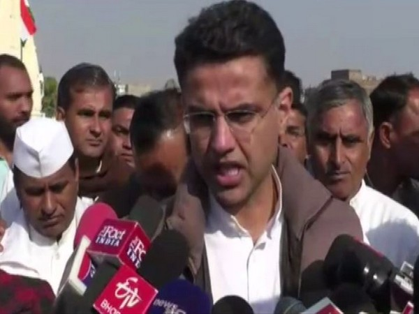 Congress leader Sachin Pilot speaks to media in Jaipur [Photo/ANI]