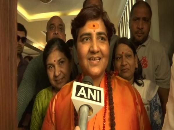 Pragya Singh Thakur talking to ANI in Bhopal on Wednesday. Photo/ANI