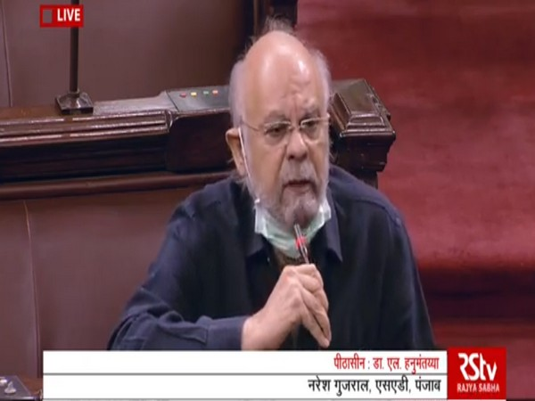 SAD MP Naresh Gujral in Rajya Sabha on Sunday.