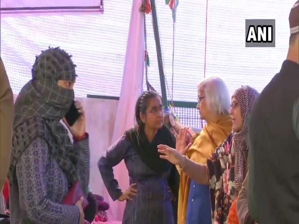 Sadhana Ramachandran arrives at Shaheen Bagh in Delhi on Saturday. (Photo/ANI)