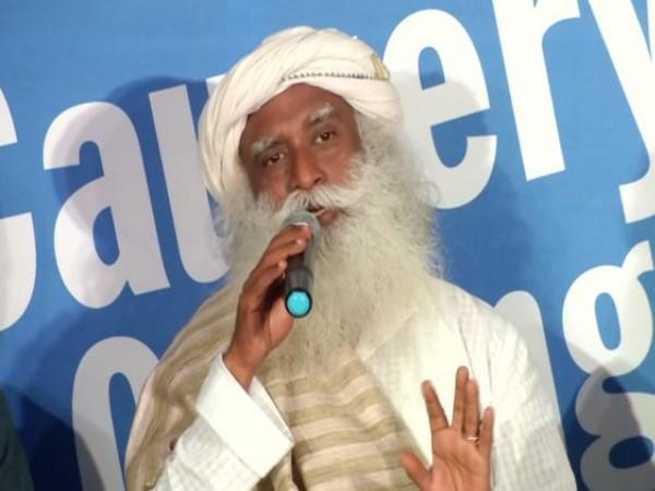 "Sadhguru Jaggi Vasudev at the launch of ""Cauvery Calling"" campaign in Bengaluru on Saturday"