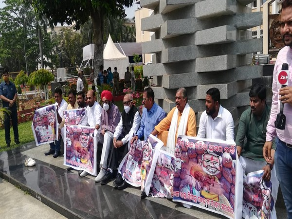 Congress MLAs protesting after ruckus in Odisha Assembly