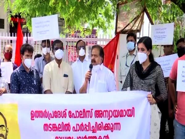 Visual of the KUWJ protest in Thiruvananthapuram