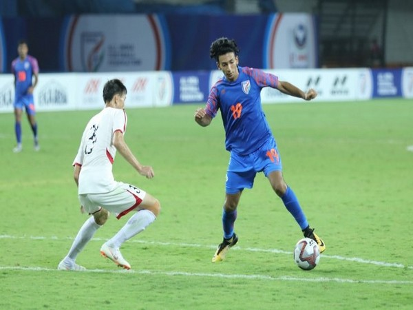 Indian team midfielder Sahal Abdul Samad in action during the match. (Photo/ Indian Football Team Twitter)