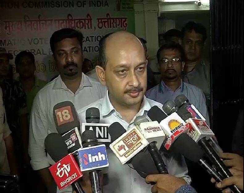 Chhattisgarh Election Commissioner Subrat Sahu speaking to reporters in Raipur on Tuesday.