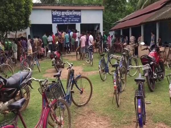 """Salisi Sabha"" being organised at Dharmapur village to demand return of 'cut money' taken by TMC leaders (Photo/ANI)"