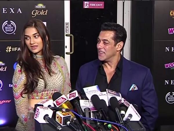 Saiee Manjrekar and Salman Khan at IIFA green carpet in Mumbai
